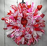 Valentines Day Heart Wreath, Pink Red and White Deco mesh Valentines Wreath, Cupid Wreath, Heart Wreath, Love Wreath
