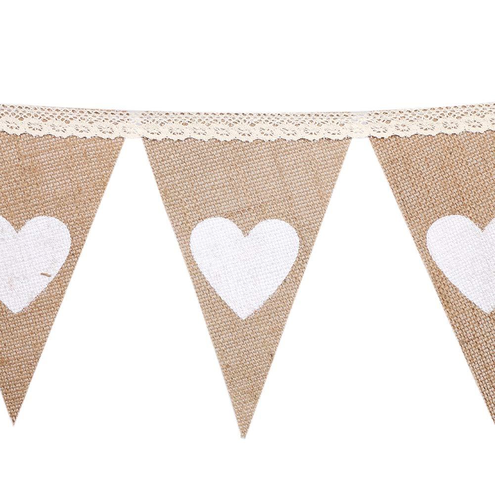 D/écoration de Bricolage Parfaite Drapeau Triangle pour Mariage Anniversaire Soleebee 15 pi/èces Banni/ère Banderole de Toile de Jute F/ête et Vacances Douche de b/éb/é