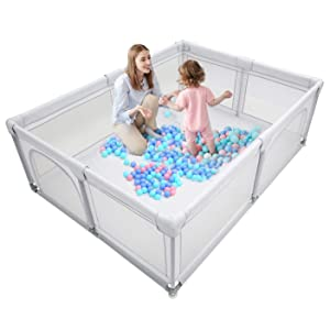 Baby Playpen,Kids Large Playard,Indoor & Outdoor Kids Activity Center,Playpen for Babies,Infant Safety Gates,Sturdy Play Yard for Toddler,Children's Fences Packable & Portable 81x61