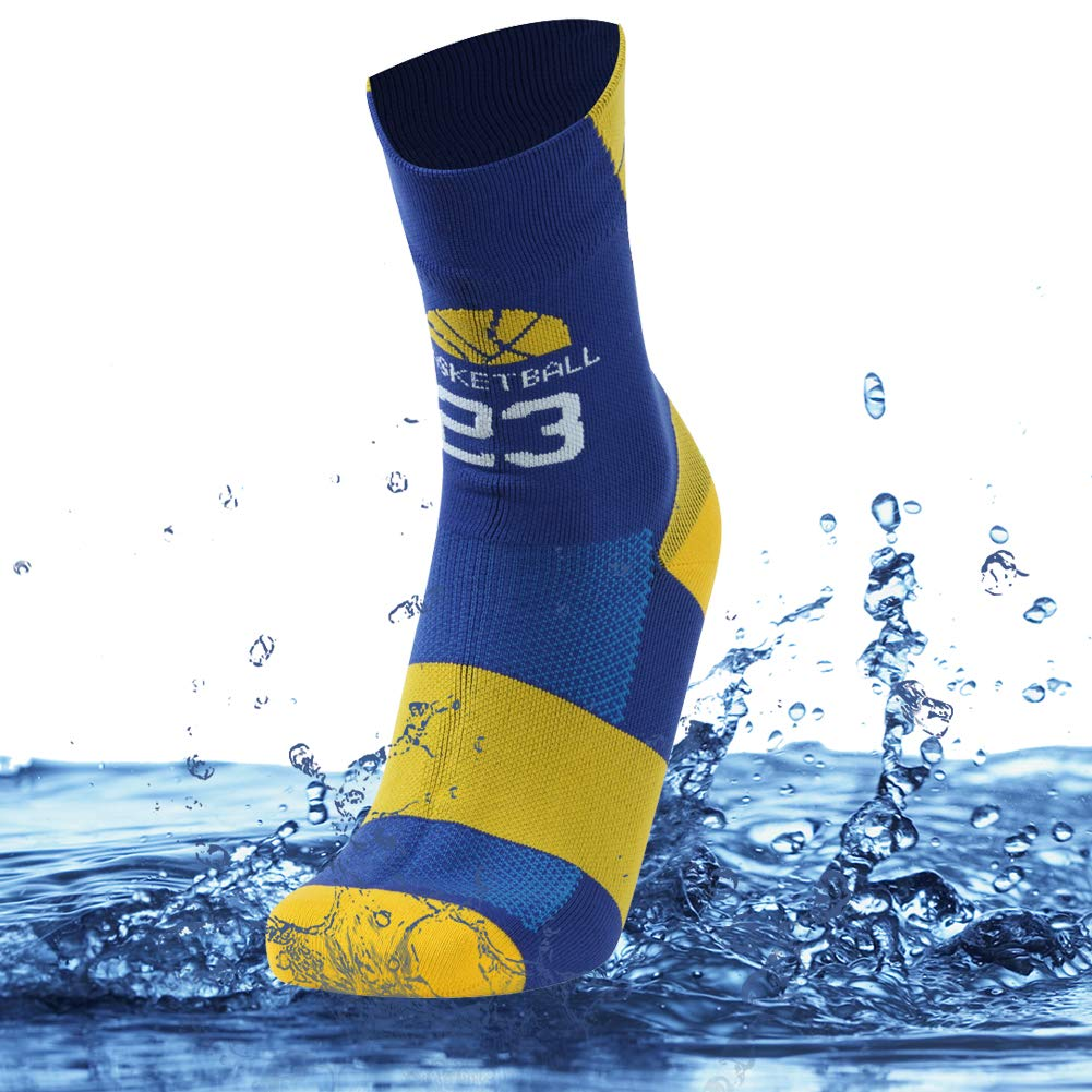 SuMade Waterproof Socks for Skiing, Mens Boys Winter Warm Ventilated Dry Fit Cushioned Seamless Thick Durable Outdoor Recreation Camping Biking Socks 1 Pair (Blue, Large) by SuMade