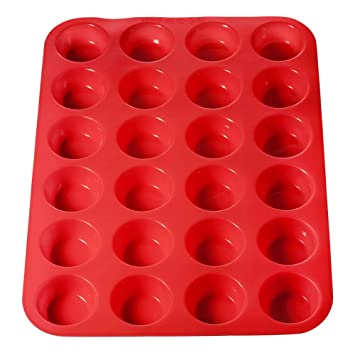 ticent silicona Mini magdalenas 24 taza Premium magdalenas sartenes formas, antiadherente, apta para microondas apto para lavavajillas Cake Mold muffin-tray ...