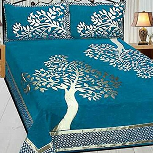 Swisstic Texture Premium Chenille 1 Double Bedsheet With 2 Pillow