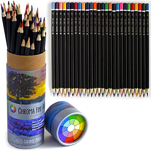 Colored Pencils for Adult Coloring Books by Chroma Fine Art, Set of 48 Oil Based Coloring Pencils in Protective Case, Colored Pencil Set with Numbers on each pencil for easy use with a color chart