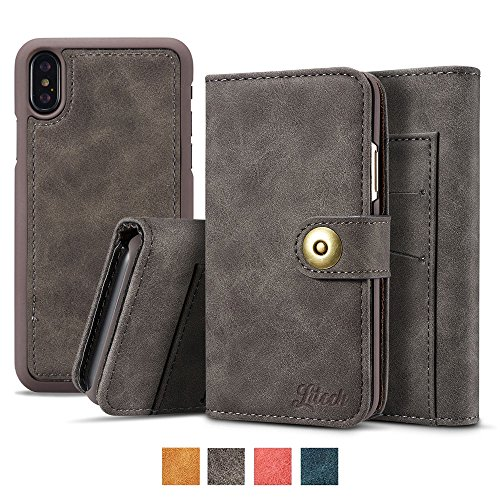 (Litech™[Premium] Case for iPhone X, Wallet Case with Magnetic Detachable Slim Case, Luxury Vintage Faux Suede Leather, 2 in 1 Removable Flip Wallet, Folio Cover [GIFT PACKAGE READY] - Grey)