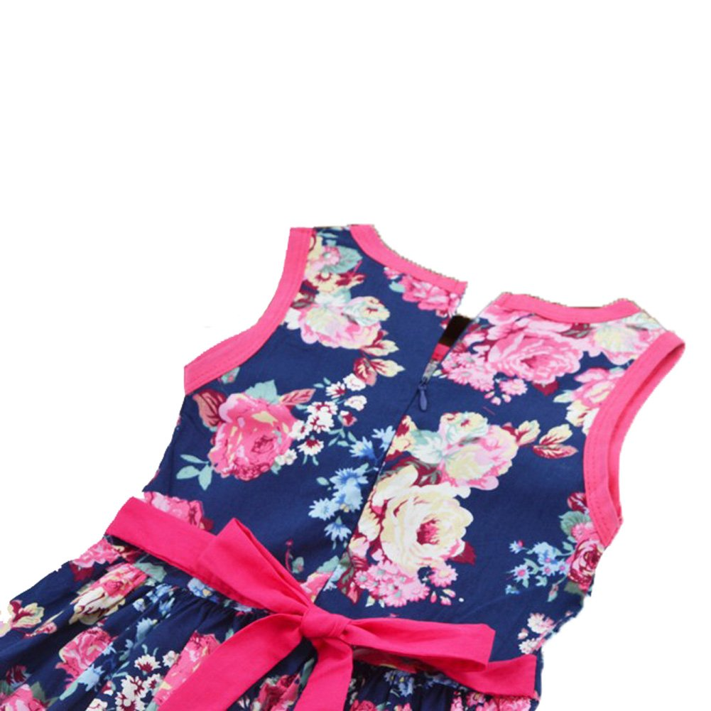 Hiven Girls c Cotton Floral Sleeveless Vest Bowknot Belt Dress - Multi - 100 cm: Amazon.co.uk: Clothing