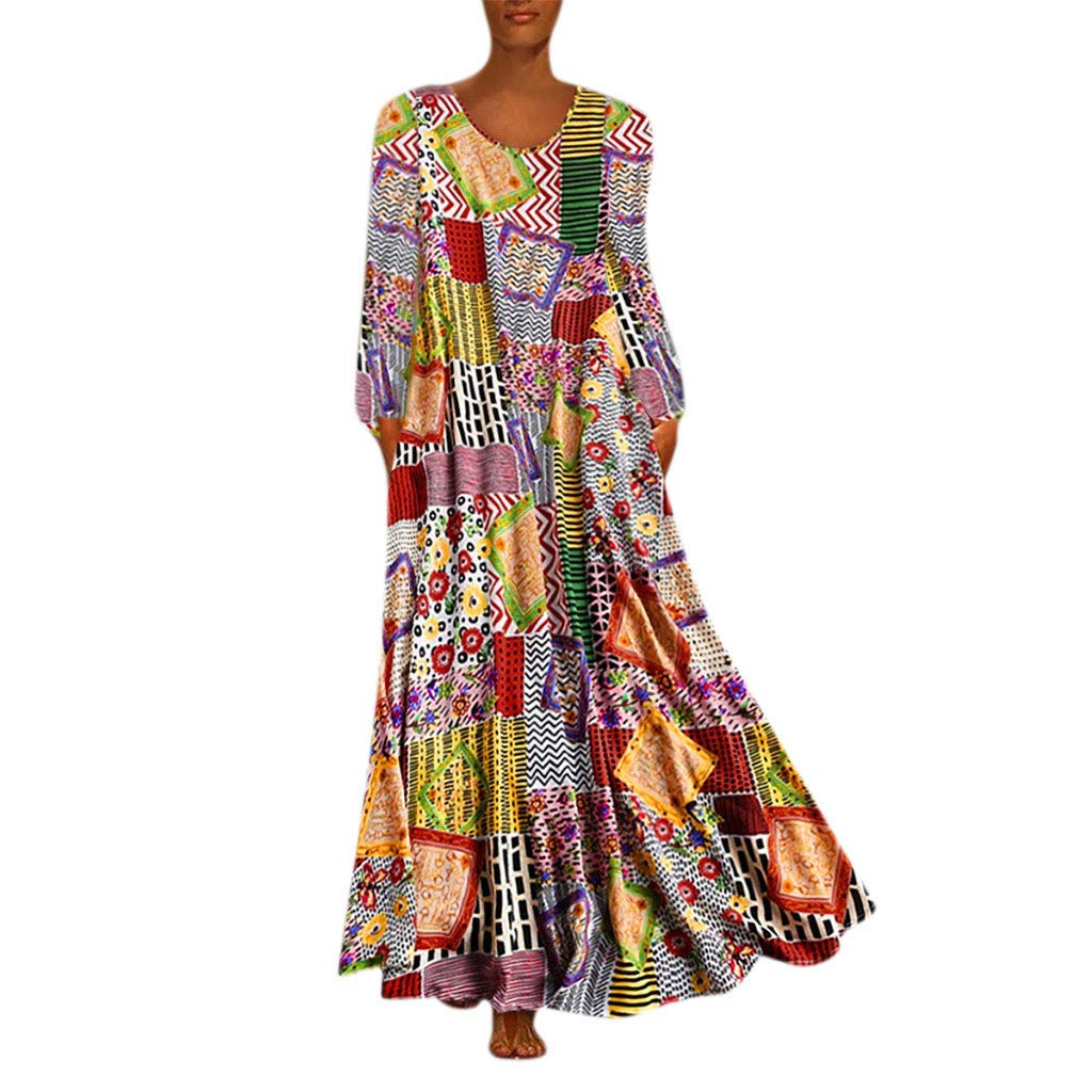 Aniywn Oversized Dress Women's Sleeveless Casual Print Floral Loose Party Long Dress Plus Size (XXXL, Multicolor 2) by Aniywn
