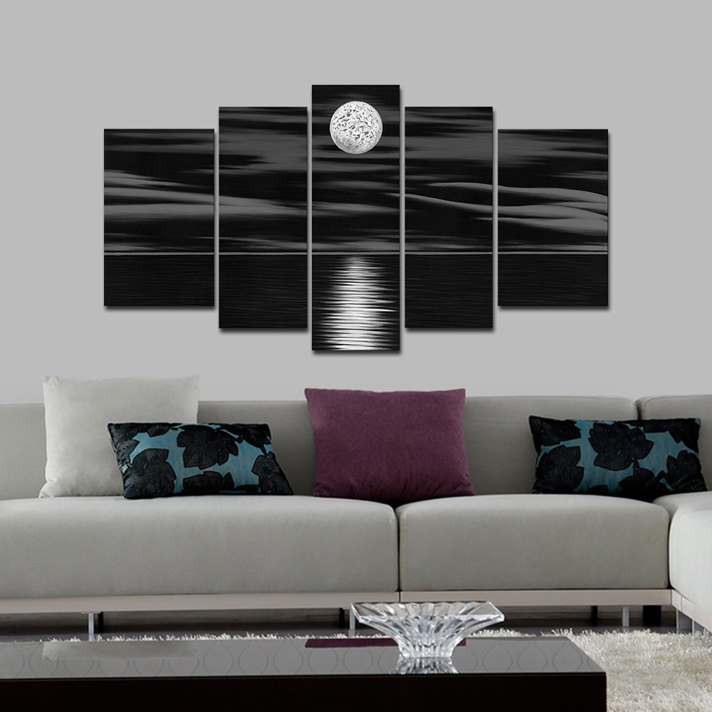 Wieco Art 5 panels 100% Hand Painted Oil Paintings Canvas Wall Art Home Decorations for Living Room Bedroom Large Sea White Full Moon Modern Stretched and Framed Abstract Landscape Artwork Decor L