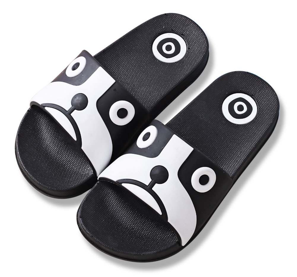 iDuoDuo Boy's Girl's Cool Cartoon Summer Slippers Anti-Slip Slide Sandals (8 M US Toddler, Black (Dog))