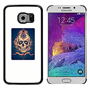 Be Good Phone Accessory // Dura Cáscara cubierta Protectora Caso Carcasa Funda de Protección para Samsung Galaxy S6 EDGE SM-G925 // Golden Poster Blue Skull Diamond