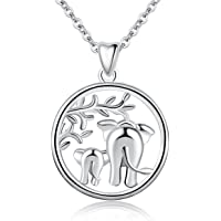 "Silver Necklaces for Women, 925 Sterling Silver Lucky Elephants""Family Love"" Tree of Life Claddagh Celtic Knot Pendant Necklace, AEONSLOVE Jewellery 18in for Mum Women Wife"
