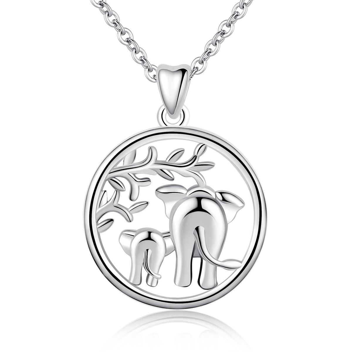 AEONSLOVE 925 Sterling Silver Lucky Elephant Family Love Forever Pendant Necklace Gift for Her Wife Mom