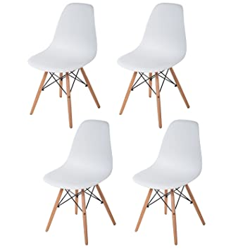 Merax Set Of 4 Dining Side Chairs Molded Plastic Side Chairs Eames Style  Dining Chairs With