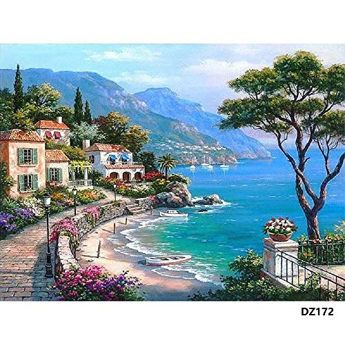 (DIY Oil Painting Paint by Number Kit with Scenery Peaple 16x20inch (Wooden Frame, Mediterranean Sea))