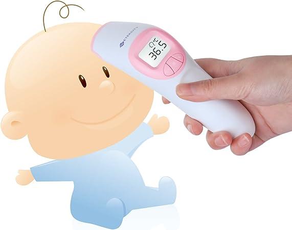 Thermom/ètre Frontal Sans Contact Enfants Thermom/ètre M/édical pour B/éb/é Adulte Blanc U-Kiss Thermom/ètre Num/érique Infrarouge 3 en 1 avec Affichage LCD Tricolore