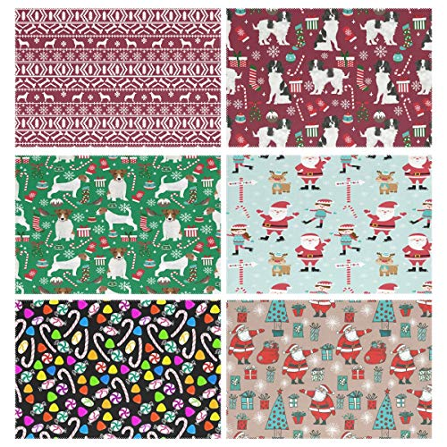 Placemats Set of 6, Husky Christmas Dog Maroon Japanese Chin Candy Canes Stockings Snowflakes Jack Russell Terrier Xmas Ice Skaters Santa Claus Holiday Stick Holly Jolly Dining Table Mats for Home Ki