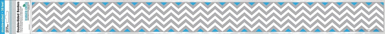 /Office Products double-sided Bulletin Board 35-feet Spina di pesce grigio e blu Chevron Gray /& Blue Border nero Barker Creek/