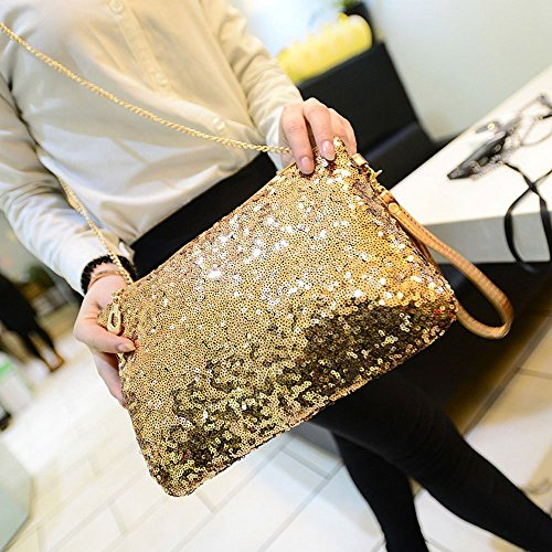 Vintage CC Sequined CD Envelope Handbag Evening Purse Gold Clutch Party nn4Hxr