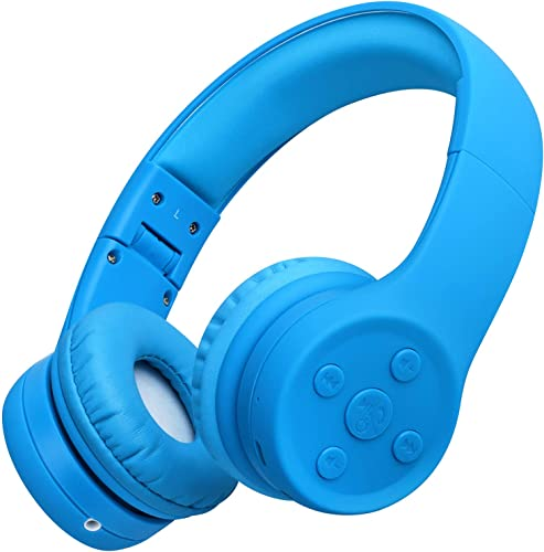 Picun Kids Bluetooth Headphones Safe Volume Limited 85dB 15 Hours Play Time Foldable Stereo Sound Headsets with Mic Wireless Headphones for Boys Children Computer Cell Phones Tablet School Game Blue