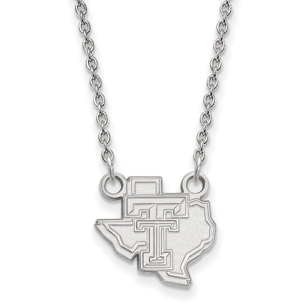 Jewel Tie 925 Sterling Silver Texas Tech University Small Pendant with Necklace