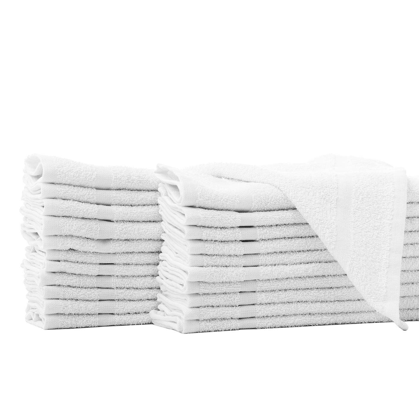 Honest Linen Wash Cloth Kitchen Towels, 24 Pack, 100% Natural Cotton, 12 x 12 Face Towels, Commercial Grade Washcloth, Machine Washable Cleaning Rags, Wash Cloths for Bathroom (White)