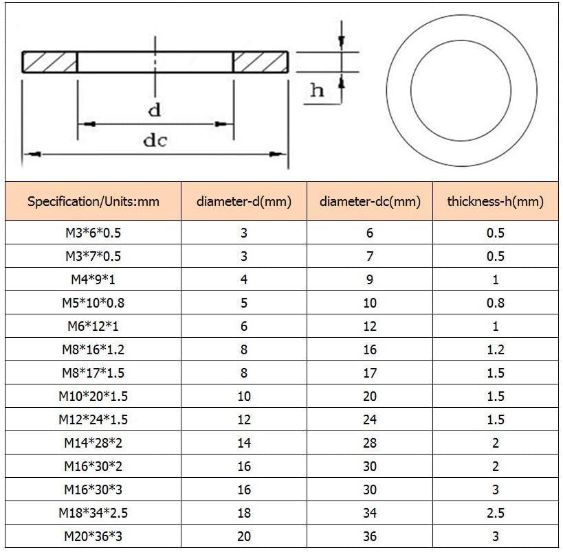 Laiton Boulon Cuivre Rondelles M/étalliques Entretoises M/éson Machine Fixation Composants M3 M4 M5-M20 Yudesun Vis Rondelles Plates