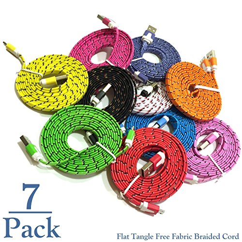 Josi Minea 7 Pc Flat Tangle Free Fabric Braided Nylon Micro USB Cables 3ft/1m Charger Sync Data Rapid Charging Cable Cord for Samsung Galaxy S7/S6/S5/S4/S3 Android/Windows Phones & Tablets [7 Pack] (Noodle Cable Micro Usb)