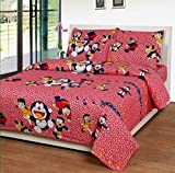 ZAIN 100% COTTON PRINTED MULTICOLOUR QUEEN SIZE BED SHEET WITH TWO PILLOW COVERS