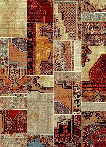 "Maxy Home Aiza Collection Area Rugs, 7'10"" x 9'10"", Fall Patch -  - living-room-soft-furnishings, living-room, area-rugs - 61zMkGHRT3L -"