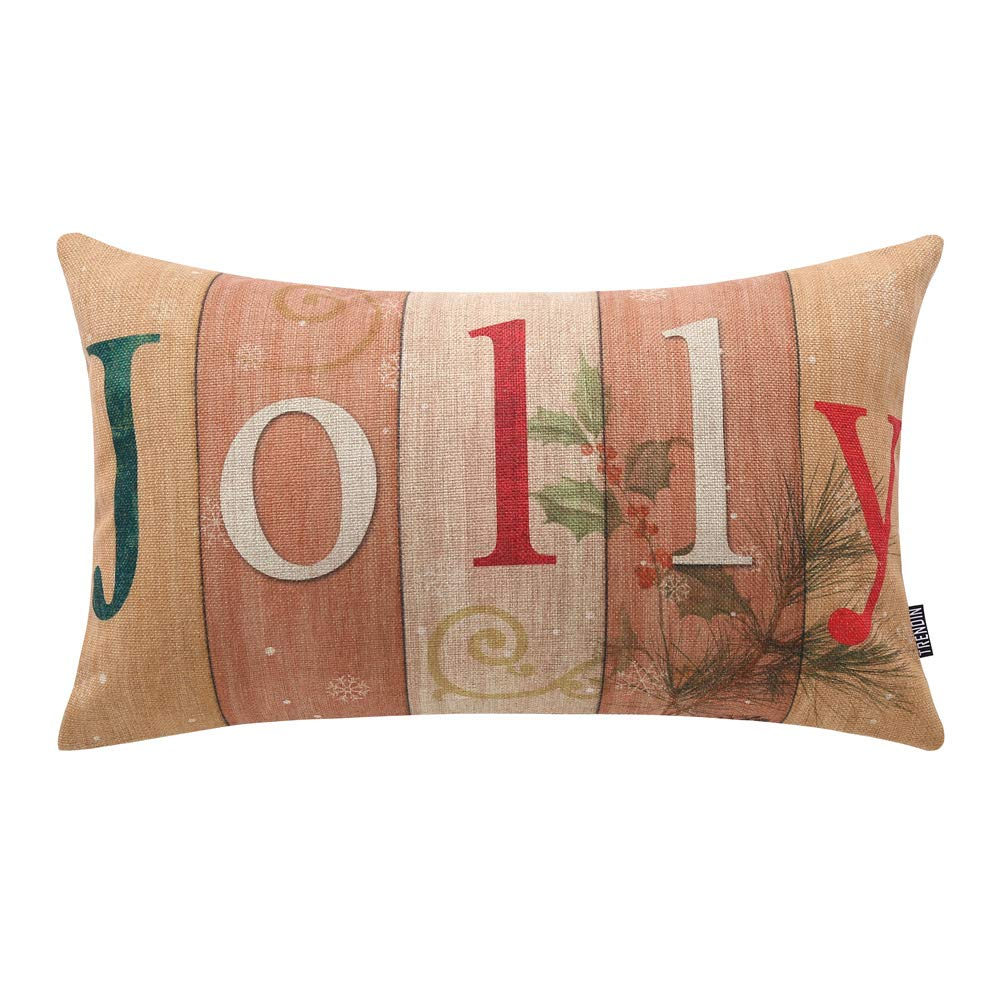 TRENDIN Vintage Christmas Jolly Throw Pillow Cover Home Decorative Cushion Case 20 x 12 inch Cotton Linen for Sofa PL248TR