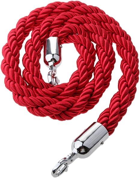 2 Pcs 1.5m Black+Red Velvet Queue Rope with Silver Chrome Clip Hooks