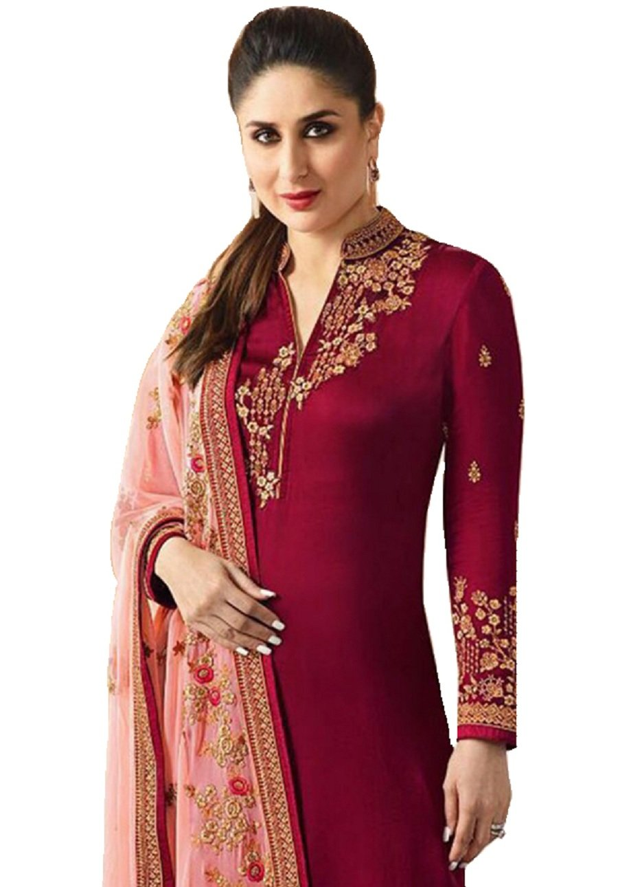Delisa Ready Made New Designer Indian/Pakistani Fashion Dresses for Women (Red, SMALL-38)