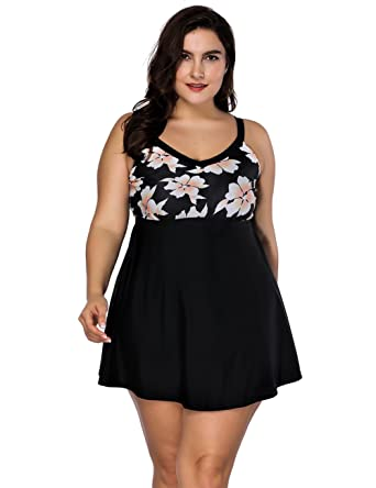 0c9f20a1b72b6 FeelinGirl Women's Built-in Cup Plus Size Swimsuit One Piece Bathing Suits