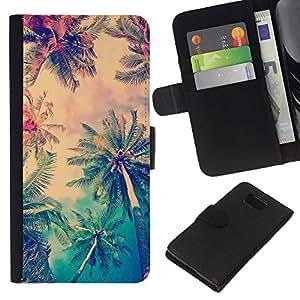EJOY---La carpeta del tirón la caja de cuero de alta calidad de la PU Caso protector / Samsung ALPHA G850 / --sol palmeras verano LA los Ángeles