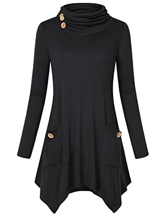 a78198dc5f5 Hibelle Black Tunic Tops for Women, Ladies Casual Long Sleeve Cowl Neck  Relaxed Fit Fall
