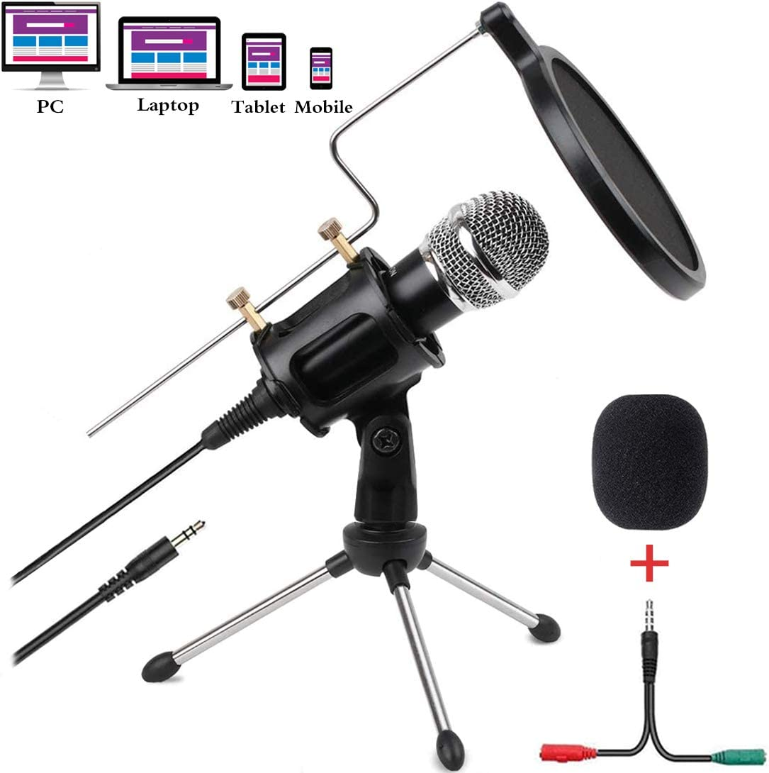 Condenser Microphone for Computer Studio Recording Podcast Microphone with Pop Filter 3.5mm Plug and Play PC Phone Microphone for Skype YouTube Voice Overs Gaming Mic: Home Audio & Theater