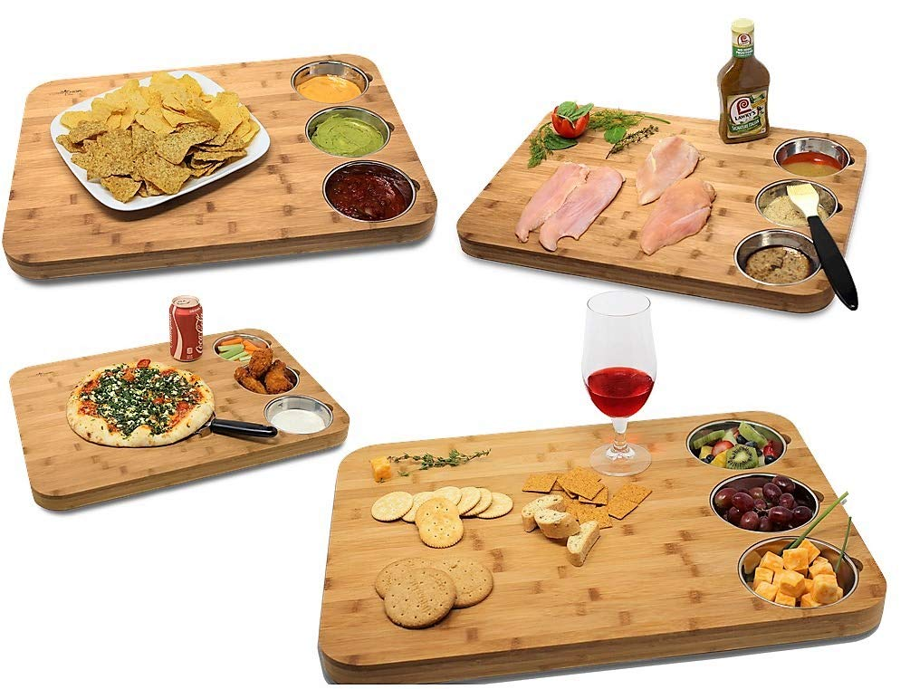 VERSACHOP Trio, Extra Large 22'' X 16'' Kitchen Cutting Board and Butcher Block made from Totally Natural Organic Moso Bamboo with Three Stainless Steel Bowls by VersaChop (Image #3)