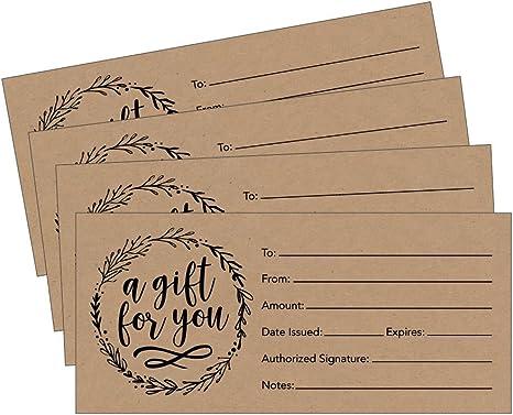 Amazon.com: 25 4 x 9 rústico lindo Certificado de regalo en ...
