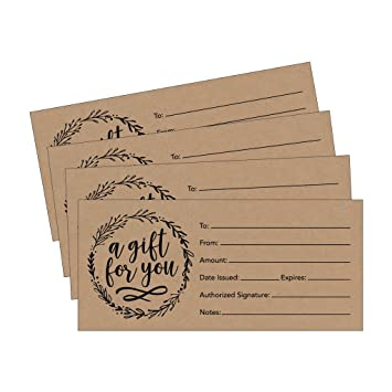 picture regarding Printable Restaurant Gift Cards identified as 25 4x9 Rustic Blank Reward Certification Playing cards Vouchers for Getaway, Xmas, Birthday Holder, Low Place of work, Cafe, Spa Natural beauty Make-up Hair Salon,