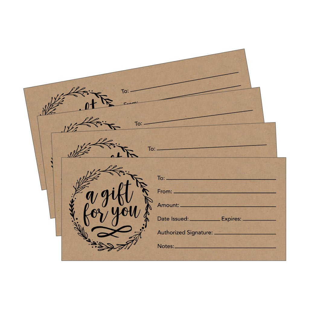 25 4x9 Rustic Cute Blank Gift Certificate Cards For Business, Modern Restaurant, Spa, Beauty Makeup Hair Salon, Wedding, Bridal, Baby Shower Print Custom Personalized Bulk Template Kit Forms Printable