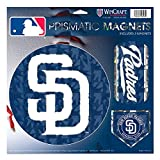 """San Diego Padres MLB Prismatic 3 Different Die Cut Magnets On Single 11"""" x 11"""" Sheet Magnet"""