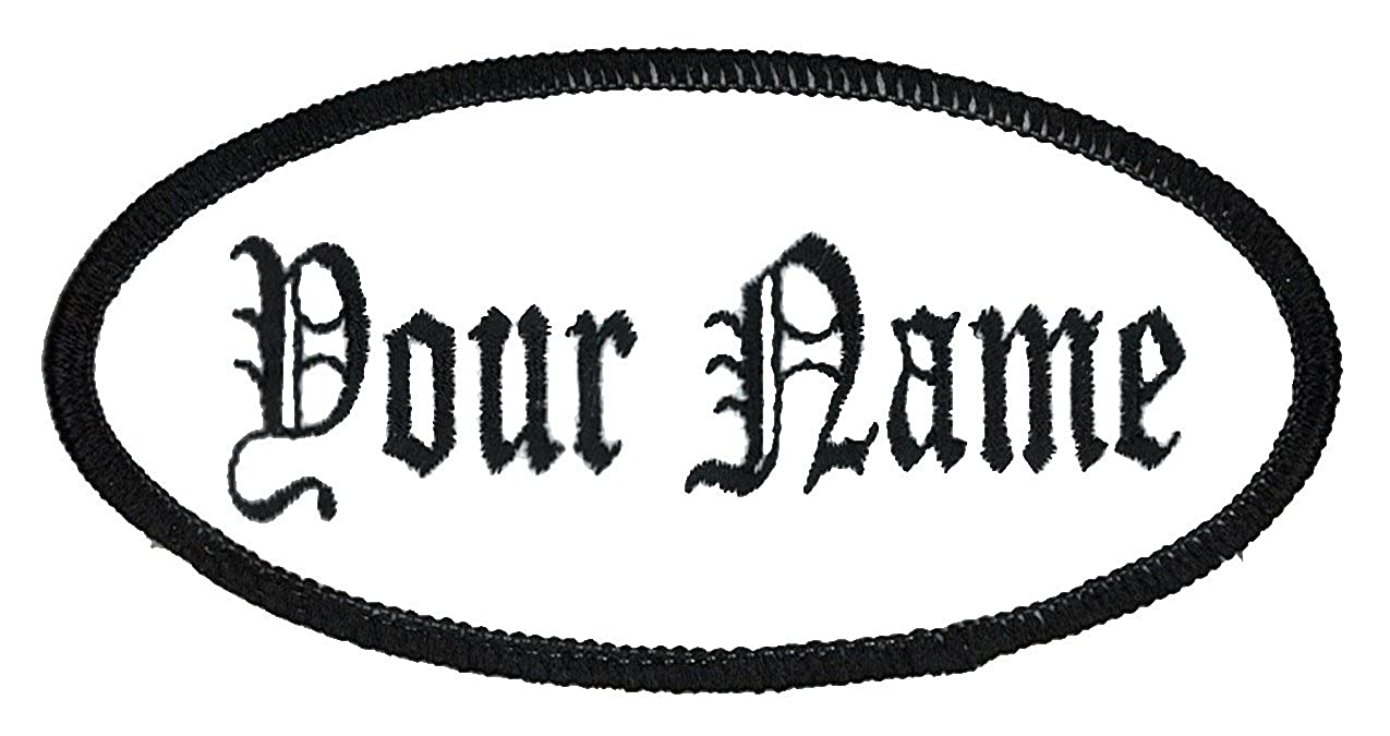 Sew on Oval Name Patch Uniform Work Shirt Custom Embroidery Hook Fastener Iron