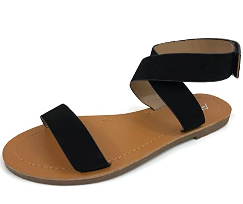 72a693cafde Anna Fashion Womens Cute Ankle Wrap Sandal Over Toe Strap Flat