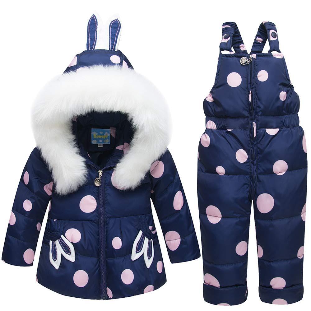 KIYOUMI Baby-Daunenjacke mit Kapuze Snowsuit mit Kleidung Set, Winter-unten Puffer-Mantel-Jacke + Winter Hosen Kleinkind-Down-Hosen-Kind-Skianzug