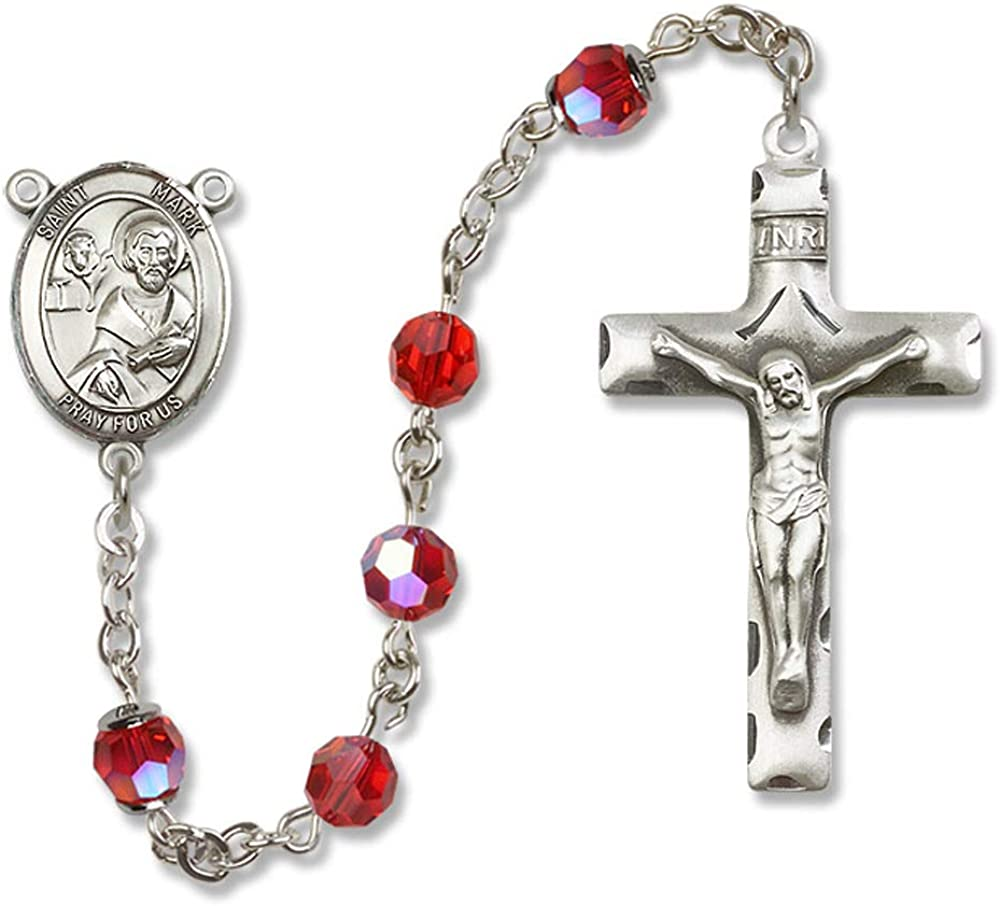 Mark the Evangelist Center St Mark the Evangelist is the Patron Saint of Notaries//Lawyers. Austrian Tin Cut Aurora Borealis Beads 6mm Swarovski All Sterling Silver Rosary with Ruby St