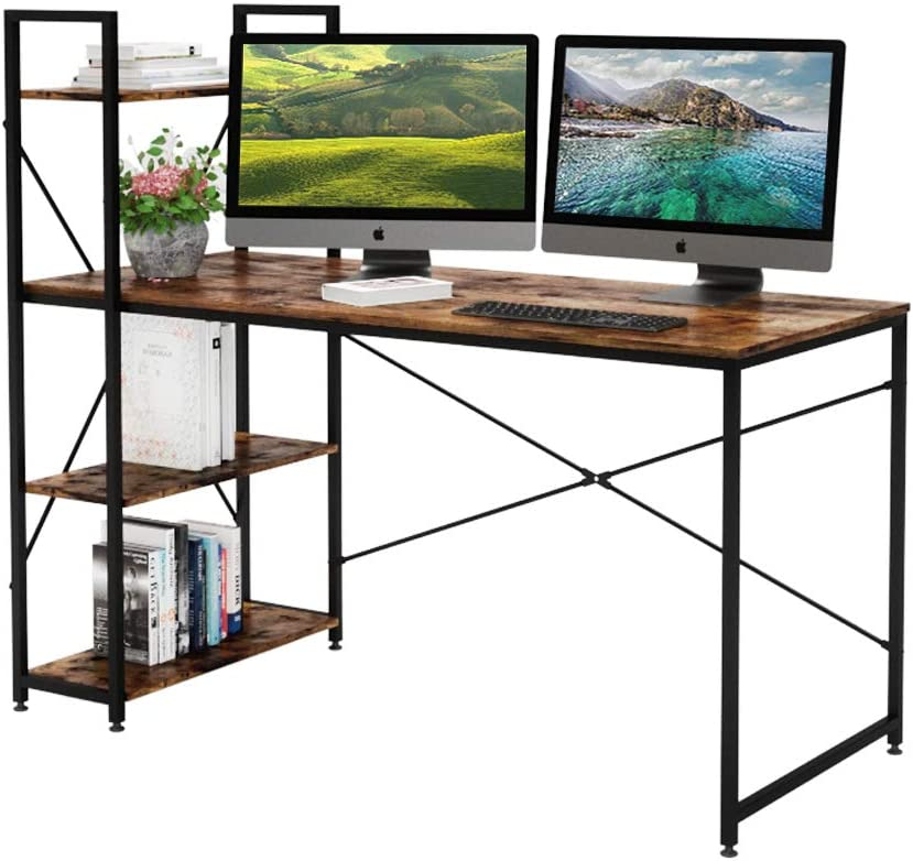 Bestier 55 Inch Computer Desk with Shelves, Modern Writing Desk with Bookshelf PC Desk with Reversible Storage Shelves, Study Corner Desk Table for Home Office Easy Assemble (55 Inch, Rustic Brown)
