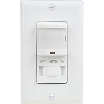 Wall Motion Sensor Light Switch: TOPGREENER TSOS5-W In Wall PIR Motion Sensor Light Switch, Single-Pole,,Lighting