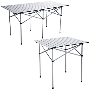 Genial Costway Camping Aluminum Roll Up Table Folding Portable Outdoor Dining  Picnic W/ Bag Heavy Duty