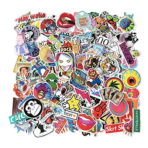 Homyu Stickers 200 Pcs PVC Decals Waterproof Sunlight-Proof DIY Great for Cars Motorbikes Portable luggages Laptops