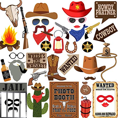 Western Cowboy Photo Booth Props, BizoeRade 42 Pieces Cowboy Party Supplies Perfect for Western Party, Wild West Party, Cowgirl Party, Texas Theme Party, Rustic Horse Party -