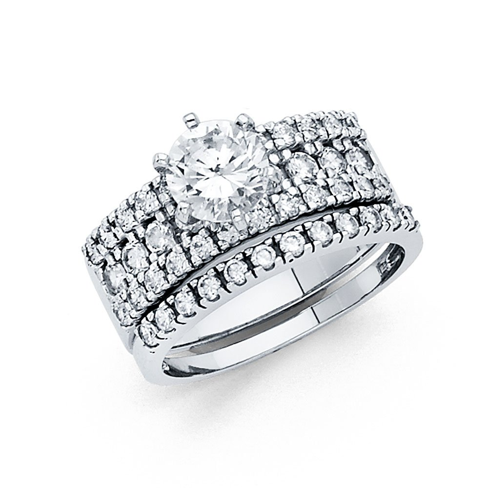 14k White Gold SOLID Wedding Engagement Ring and Wedding Band 2 Piece Set - Size 6.5